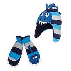 bluezoo - Boy's navy fleece monster hat and mittens set