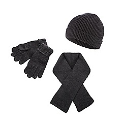 bluezoo - Boy's grey knitted hat, scarf and gloves set