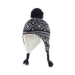 bluezoo - Boy's navy fairisle trapper hat