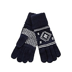 bluezoo - Boy's navy fairisle gloves
