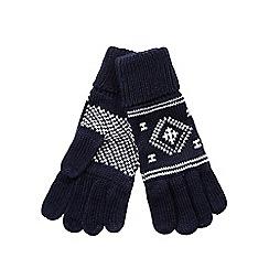 bluezoo - Boy's navy fairisle gloves