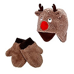 bluezoo - Brown reindeer hat and gloves set