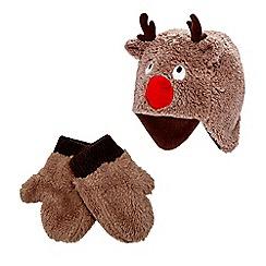 bluezoo - Brown reindeer hat and gloves set