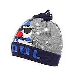 bluezoo - Boys' grey snowman beanie hat
