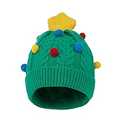 bluezoo - Boys' green Christmas tree beanie hat