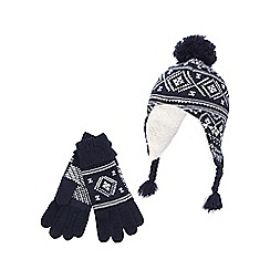 bluezoo - Boys' navy Fair Isle hat and gloves set