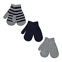 bluezoo - Pack of three boy's navy plain and striped mittens