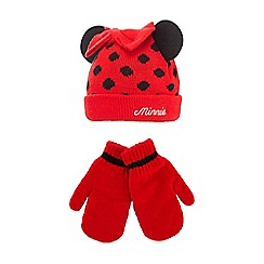 Minnie Mouse - Girl's red 'Minnie Mouse' beanie and mittens set