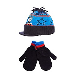 Thomas & Friends - Boy's blue 'Thomas and Friends' peak hat and mittens set