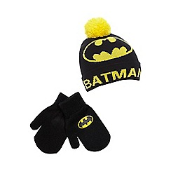 Batman - Boys' black 'Batman' beanie hat and gloves