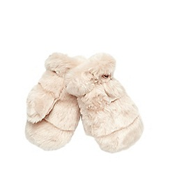 Baker by Ted Baker - Girl's pale pink faux fur mittens