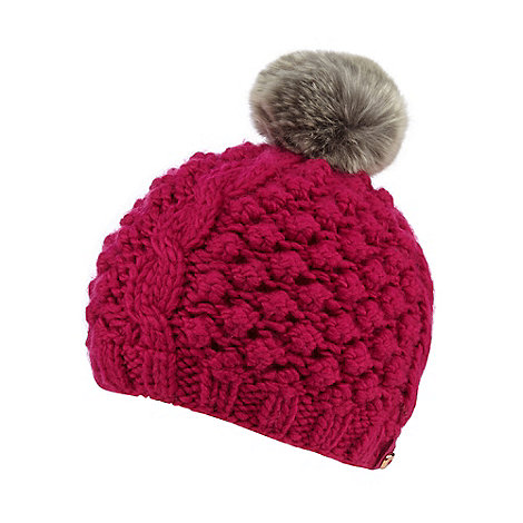 Baker by Ted Baker - Girls+ pink bobble knit beanie hat