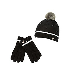 Baker by Ted Baker - Girls' black pearly hat and gloves set