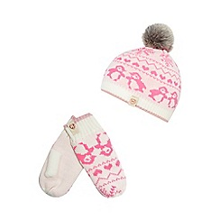 Baker by Ted Baker - Girls' pink Fair Isle knit hat and mittens set