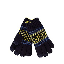 Baker by Ted Baker - Boys' navy fairisle knitted gloves