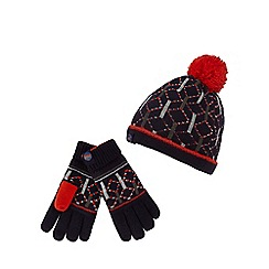 Baker by Ted Baker - Boys' navy geometric hat and gloves set