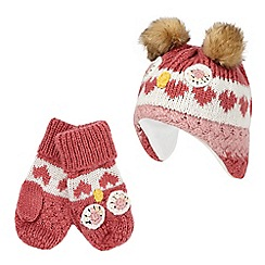Mantaray - Multi owl trapper hat and mittens