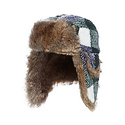 Mantaray - Boys' green checked trapper hat