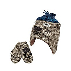 Mantaray - Novelty bear trapper hat and mittens