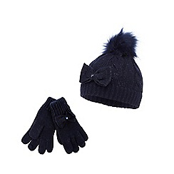 J by Jasper Conran - Girls' navy cable beanie hat and gloves set