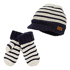 J by Jasper Conran - Boys' navy striped hat and mittens set