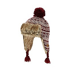 J by Jasper Conran - Boys' dark red Fair Isle trapper hat
