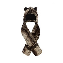 RJR.John Rocha - Girls' brown faux fur hat scarf
