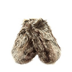 RJR.John Rocha - Girls' brown faux fur mittens