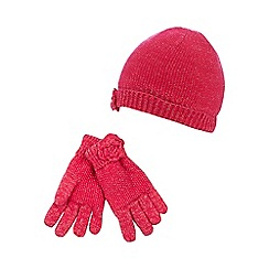 RJR.John Rocha - Girls' red moss stitch hat and gloves set
