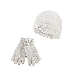 RJR.John Rocha - Girls' cream glitter rose hat and gloves set