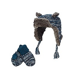 RJR.John Rocha - Blue trapper hat and mittens
