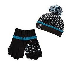 RJR.John Rocha - Boys' black birdseye knit hat and mittens set