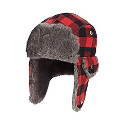 RJR.John Rocha - Boys' red checked trapper hat