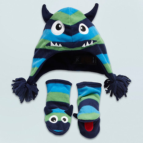 bluezoo - Boy+s navy fleece monster hat and mittens set