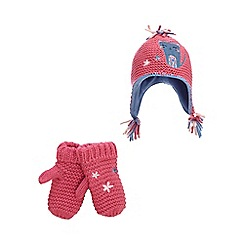 bluezoo - Pink cat applique beanie and mittens set