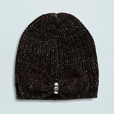 Star by Julien Macdonald - Designer girl+s black shimmer knitted beanie hat