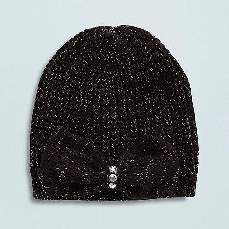 Star by Julien Macdonald - Designer girl+s black shimmer knitted beanie hat