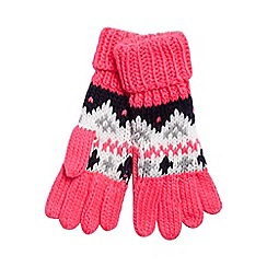 bluezoo - bluezoo Girls' pink Fairisle patterned gloves
