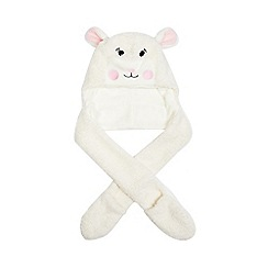 bluezoo - Girls' white applique sheep hat and scarf