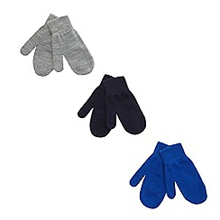 bluezoo - Pack of three boys plain magic mittens
