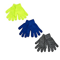 bluezoo - Pack of three boys plain magic gloves