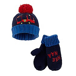 bluezoo - Boys' navy fire engine applique beanie hat and mittens set