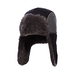 bluezoo - bluezoo Boys' black faux fur lined trapper hat