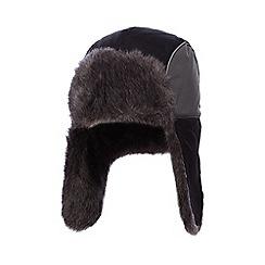 bluezoo - Boys' black faux fur lines trapper hat