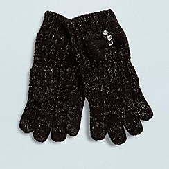 Star by Julien Macdonald - Designer girl's black shimmer knitted gloves