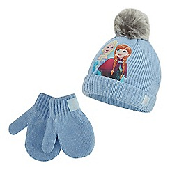 Disney Frozen - Girls' light blue 'Frozen' beanie hat and mittens set