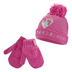 Disney Princess - Girls' pink princesses hat and mittens set