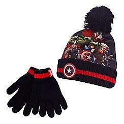 Captain America - Boys' navy 'Avengers' print hat and gloves set