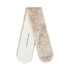 Baker by Ted Baker - Girls' taupe faux fur bow applique scarf