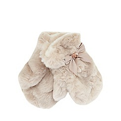 Baker by Ted Baker - Girls' pale pink faux fur mittens
